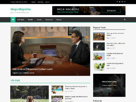 Theme WordPress Mega Magazine Free