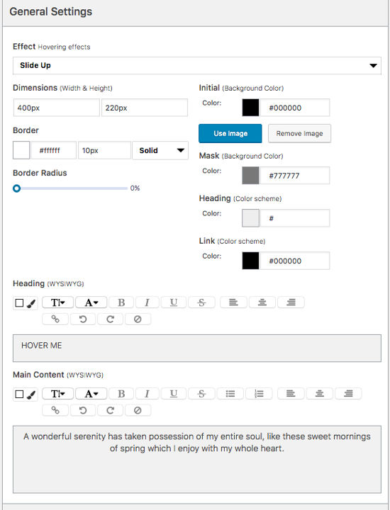 Visual Slide Box Builder General Settings