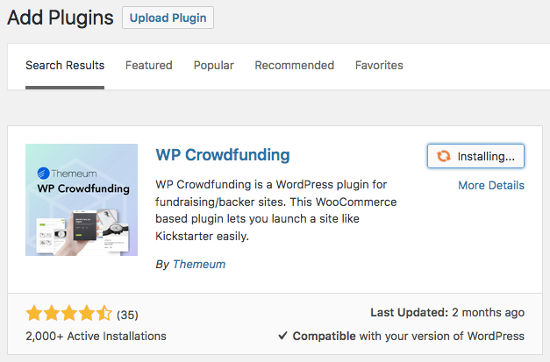 WP Crowdfunding Install