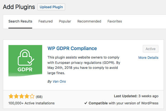 WP GDPR Compliance WordPress Plugins