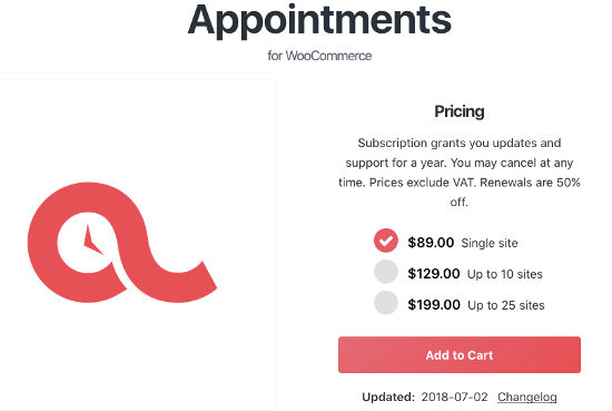 WooCommerce Appointment Pricce