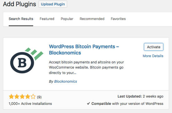 Blockonomics plugin Install