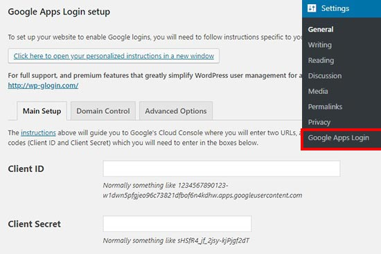 Login google satu klik app login settings WordPress