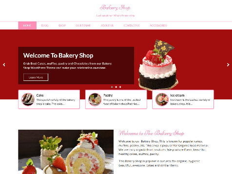 Theme WordPress Bakery Shop Responsive Free