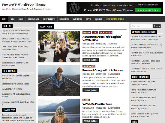 Theme WordPress Blogging PowerWP Free