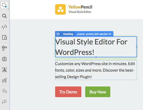 Yellow Pencil Visual CSS Editor Interface Panel Left