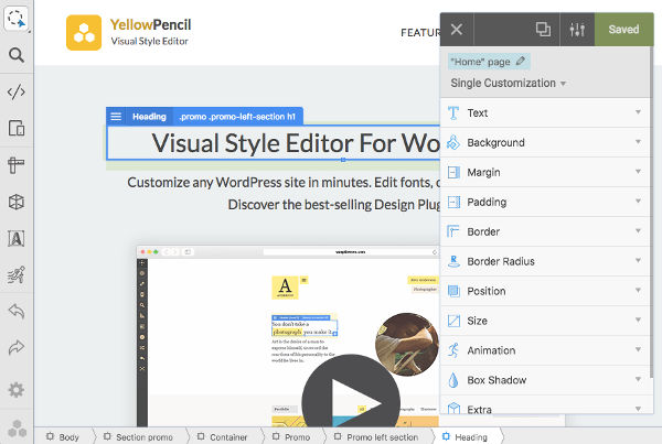 Yellow Pencil Visual CSS Editor Interface