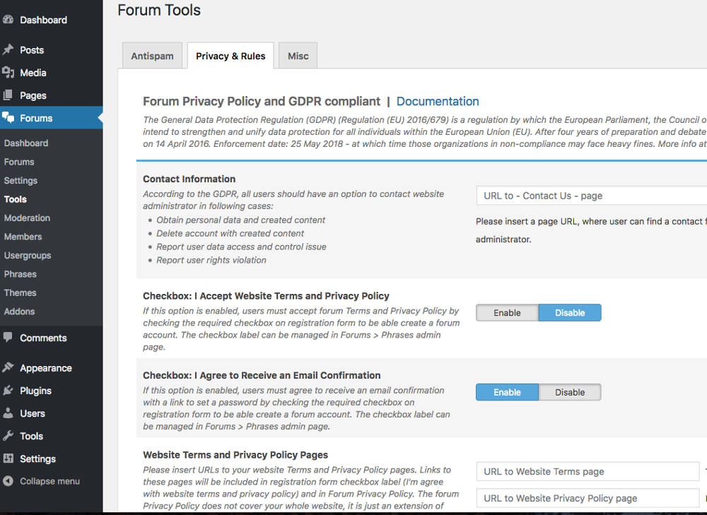 wpForo Forum WordPress GDPR