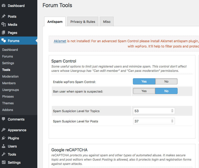 wpForo Forum WordPress anti Spam