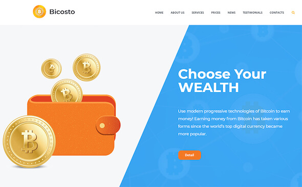 Tema WordPress Cryptocurrency bicosto
