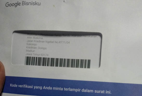 Surat kode verifikasi google my business