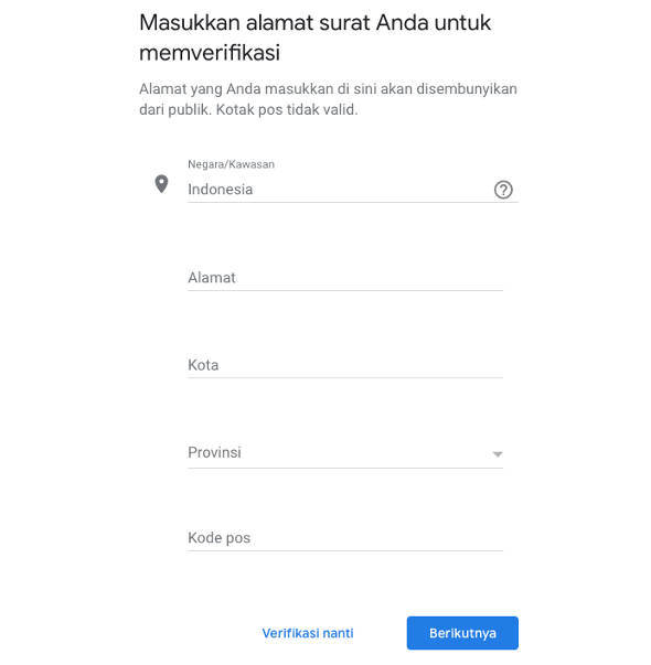 Verifikasi alamat google my business