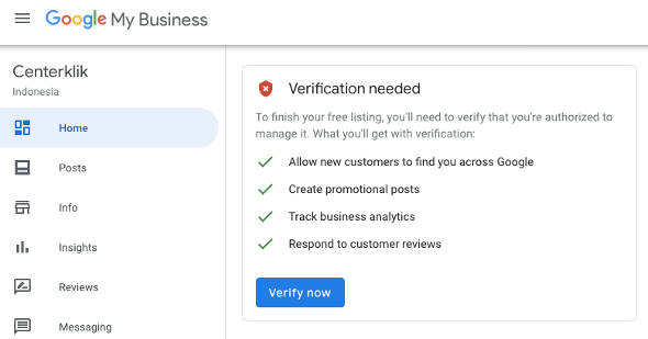 Verifikasi google my business