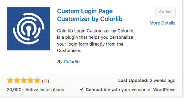 Colorlib Halaman Login WordPress Customizer 2