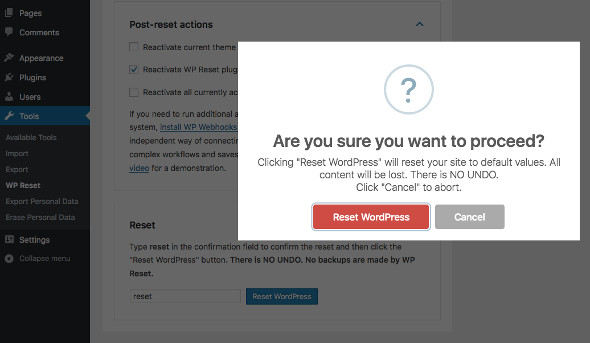 WP Reset WordPress Reset