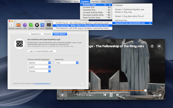 Elmedia Player Subtitles Pemutar video Mac OS