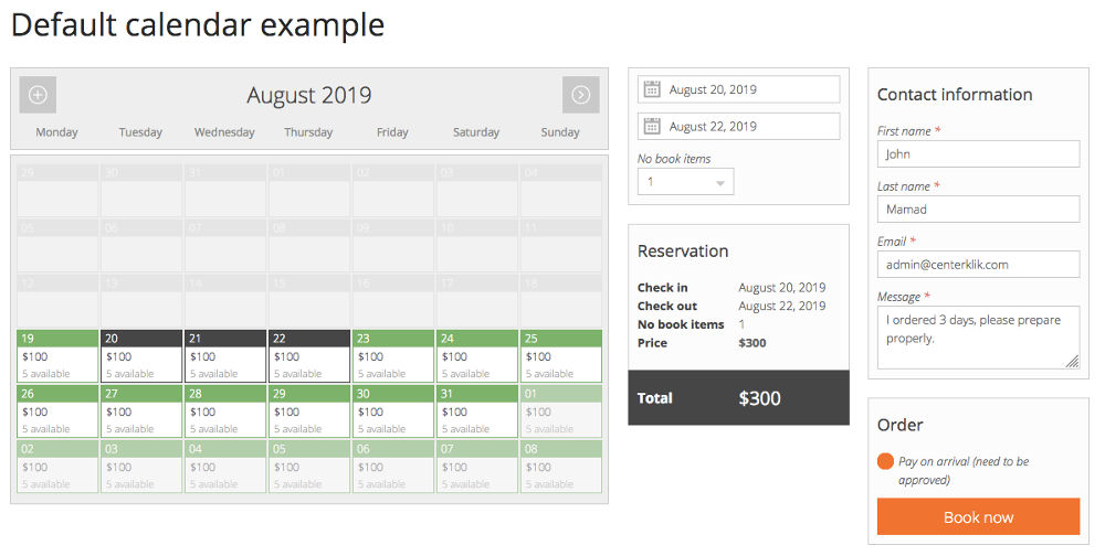 Calendar pinpoint booking system WordPress