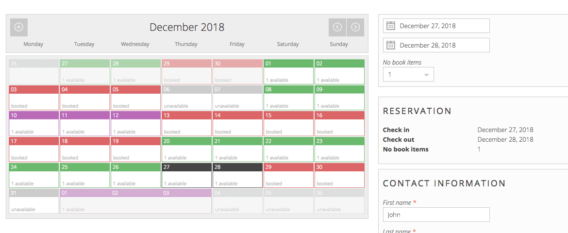 booking-calendar-days pinpoint booking system WordPress