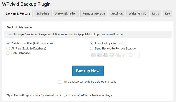 wpvivid backup wordpress 2