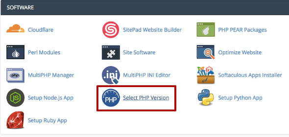 cPanel PHP version