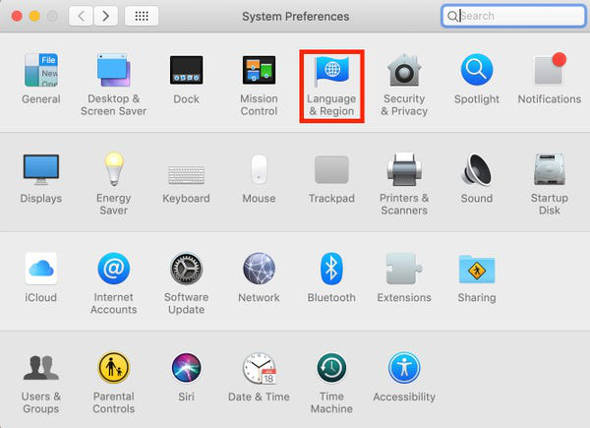 System Preferences Language Region MacOS