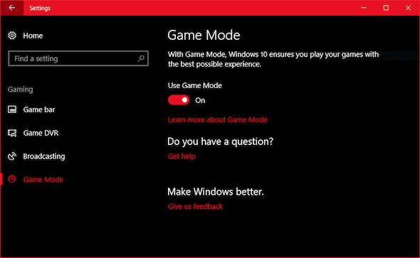 game mode setting windows