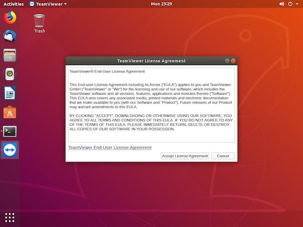 agreement ubuntu teamviewer