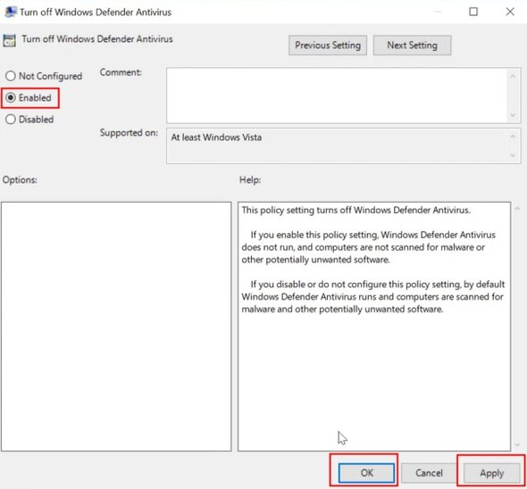Menonaktifkan Windows Defender 2