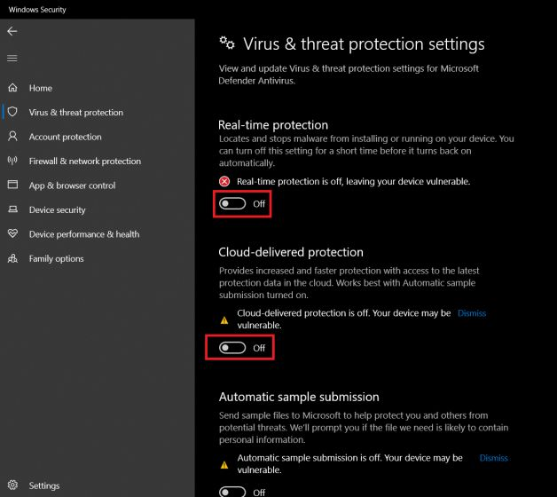 Menonaktifkan Windows Defender 3