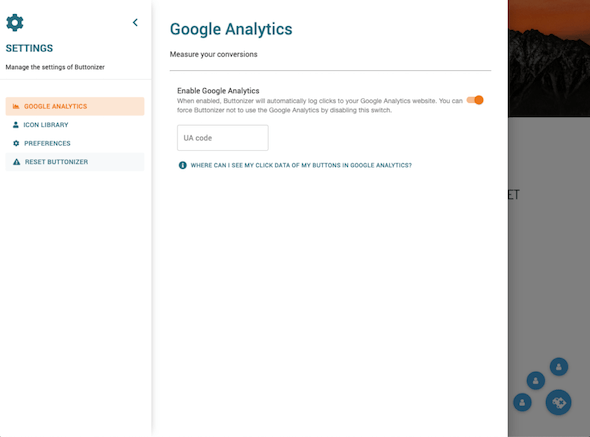tambah tombol google analytics