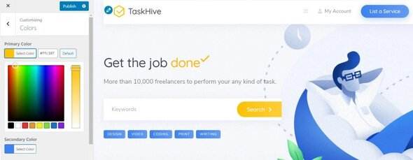taskhive customize tema marketplace wordpress