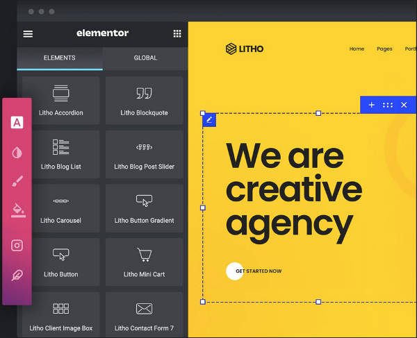 Litho Theme elementor page builder